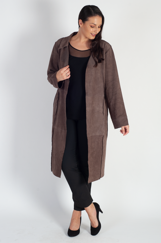 Mocha Suede Raised Seam Detail Coat
