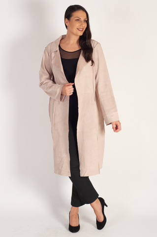 Soft pink Suede raised seam detail Coat  - REDUCED ONE WEEK ONLY