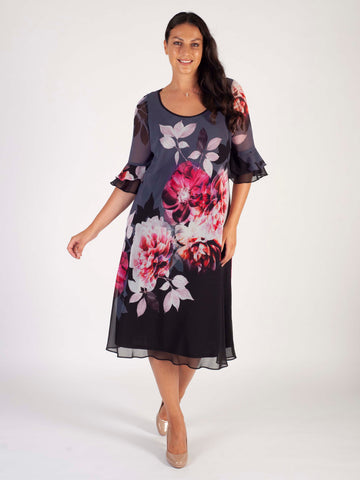 Hyacinth Floral Dress With Flounce Layered Cuff