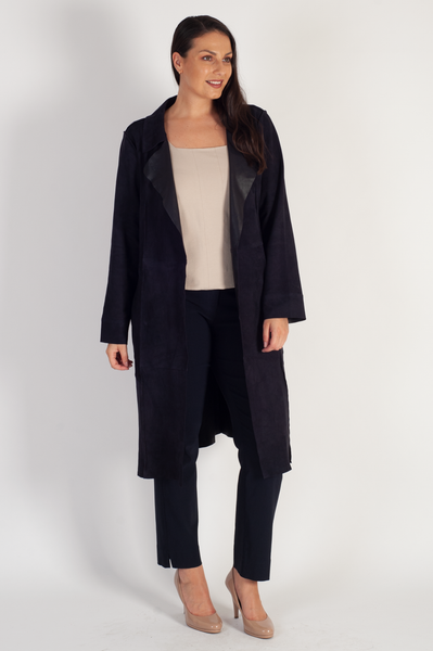 Navy Suede Raised Seam Detail Coat