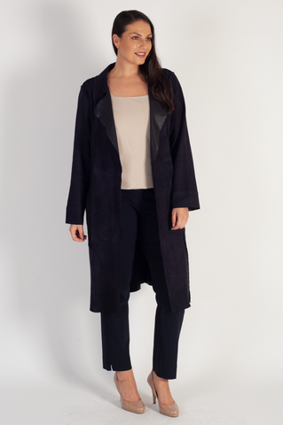 Navy Suede Raised Seam Detail Coat - REDUCED ONE WEEK ONLY