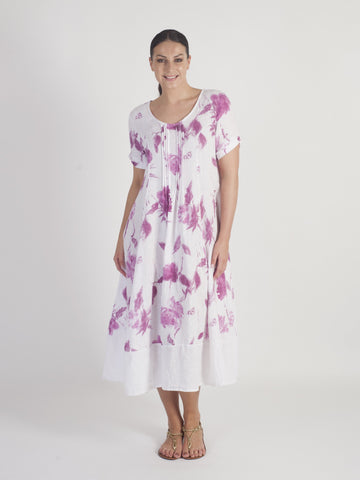 White/Raspberry Pintuck Detail Floral Linen Dress