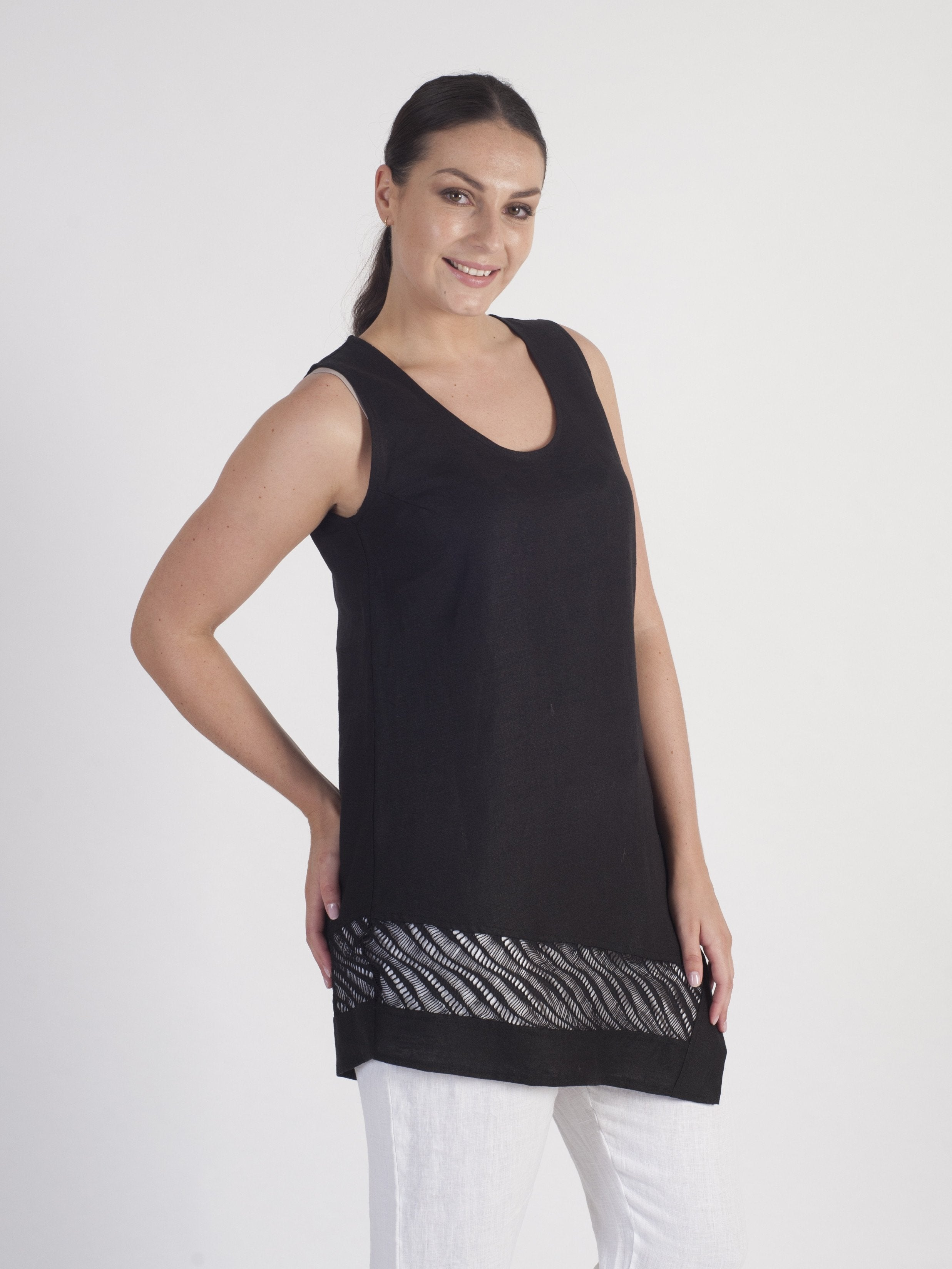 Black Linen Sleeveless Tunic