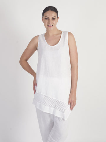 White Linen Sleeveless Tunic