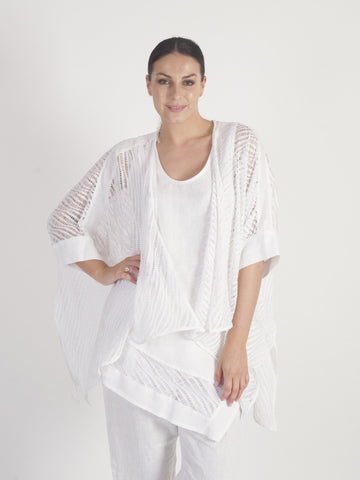 White Cutwork Waterfall Jacket