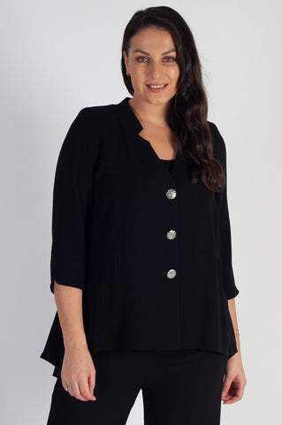 Black Notch Neck Crepe Jacket