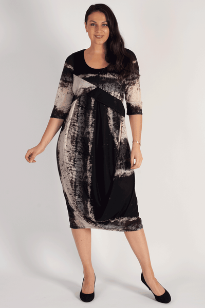 Blk/Beige Abstract Ombre  Stripe Drape jersey Dress