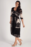 Blk/Beige Abstract Ombre Block Stripe Drape Dress