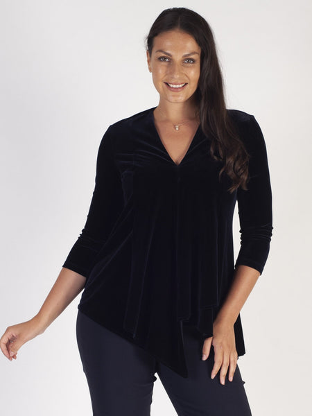Joseph Ribkoff Midnight Blue Velvet Tunic