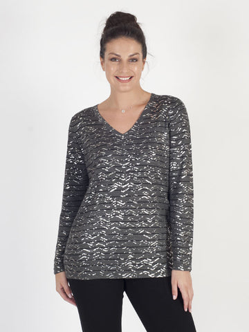 Leo & Ugo Printed V-neck Jumper