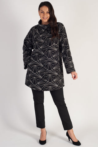 Black Stand Collar Jacquard Coat with Contrast Geometric Embroidery