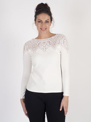 Leo & Ugo Off White Lace Neck Detailing High Neck Jumper