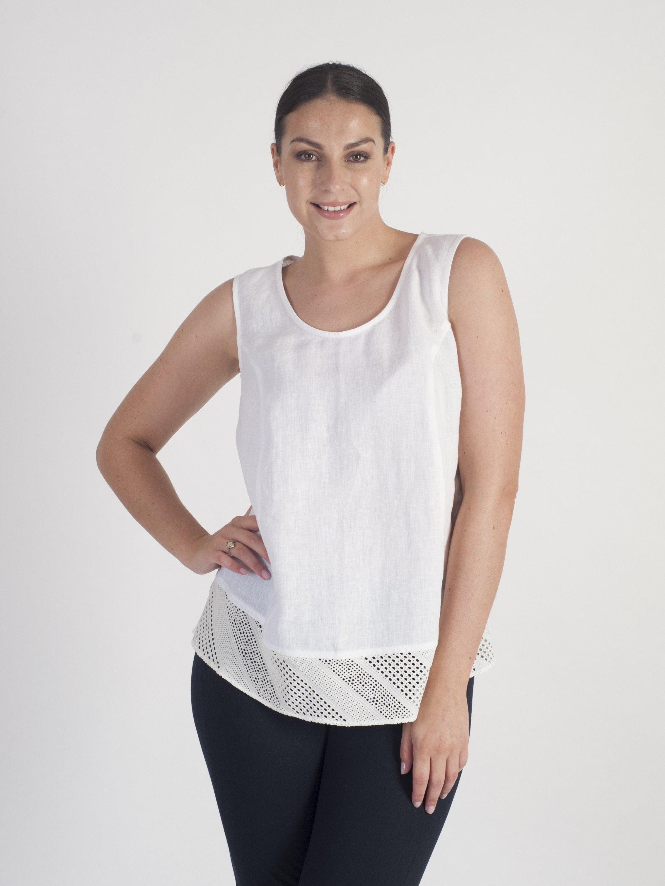 White Squares & Stripe Mesh Trim Linen Top