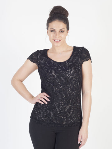 Black Scallop Trim Contrast Lined Stretch Lace Top