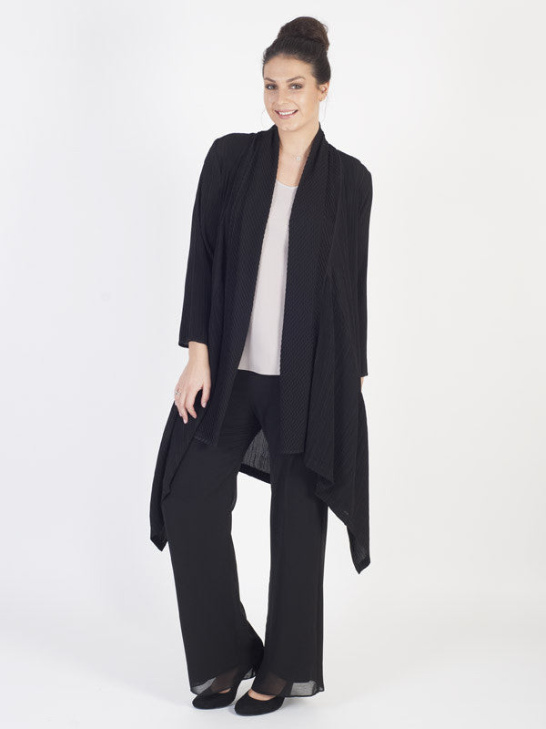 Black Window Pane Pleat Trim Crush Pleat Shrug