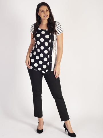 Michael Tyler Black/White Cap Sleeve Multi Stripes & Spots Button Detail Top