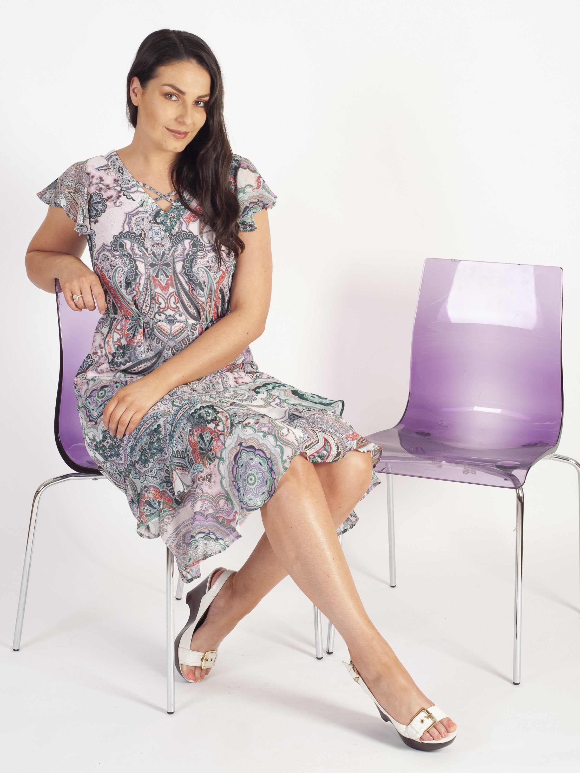 Gerry Weber Lilac/Green Paisley Print Tea Dress