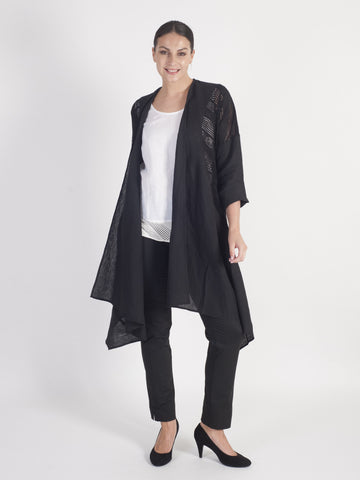 Black Squares & Stripe Mesh Trim and Linen Coat