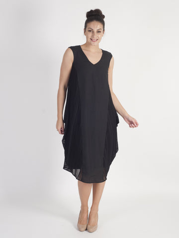 Black Squares & Stripe Mesh Trim and Linen Dress With Lining