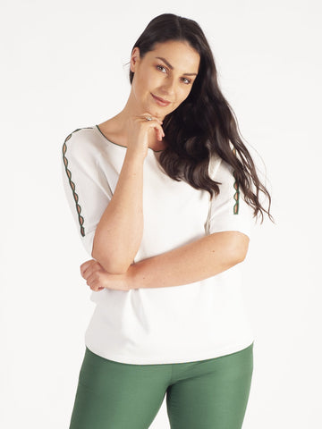 Gerry Weber Off/White Jumper With Green Trim