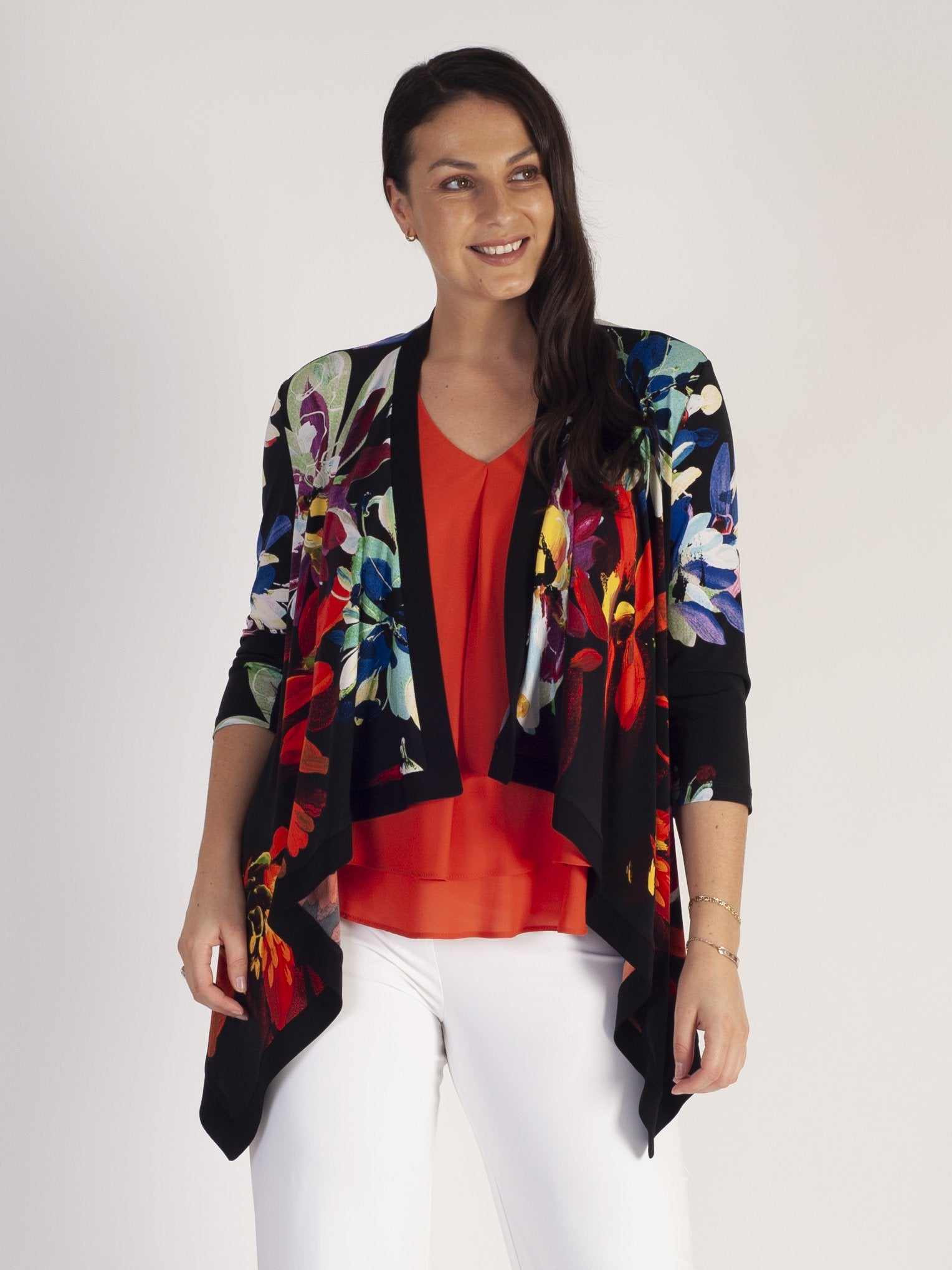 Frank Lyman Black/Multi Waterfall Jersey Shrug