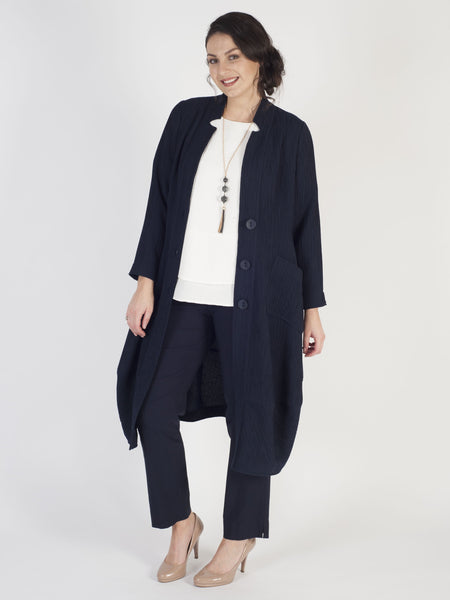 Navy Treebark Crinkle Jacquard Notch Neck Coat