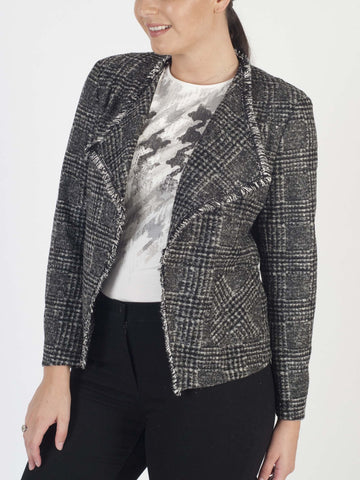 RABE Fringed Check Jacket