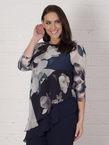 Blue Layered Asymmetric Orchid Print Tunic