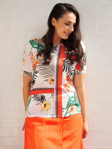 Gerry Weber Ecru/Orange Jungle Print T-Shirt