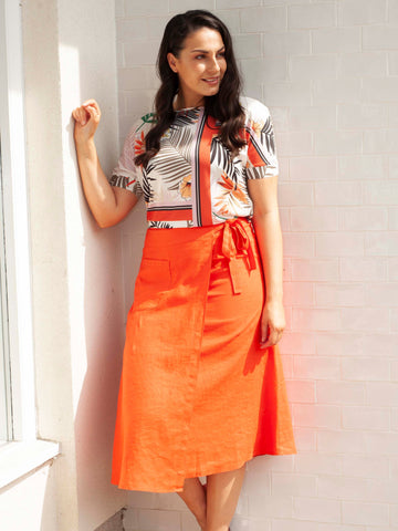 Gerry Weber Orange Long Woven Skirt