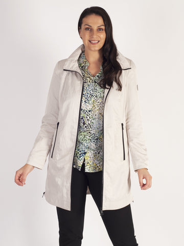 Lebek Stone Zip Through Raincoat