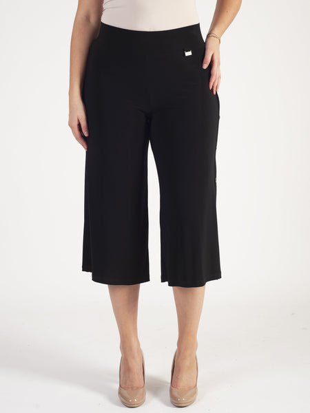 Michael Tyler Black Button Trim Jersey Culottes