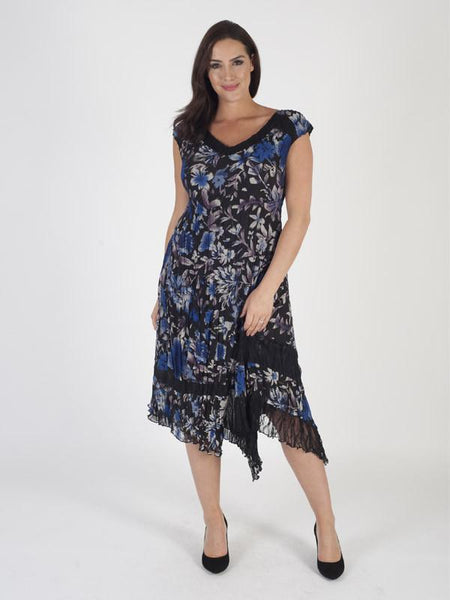 Cobalt Floral Print Black Lace Trim Dress
