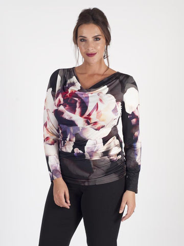Michaela Louisa Floral Multi Digital Print Jersey Top With Rouging