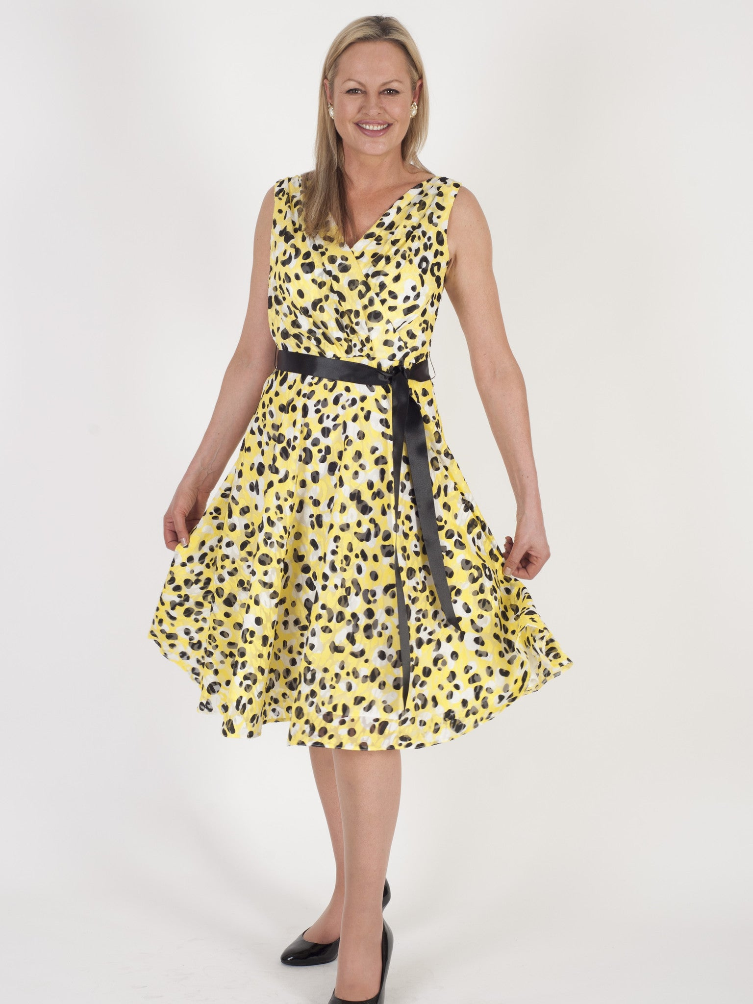 Michaela Louisa Lemon and Black Spot  Print Dress