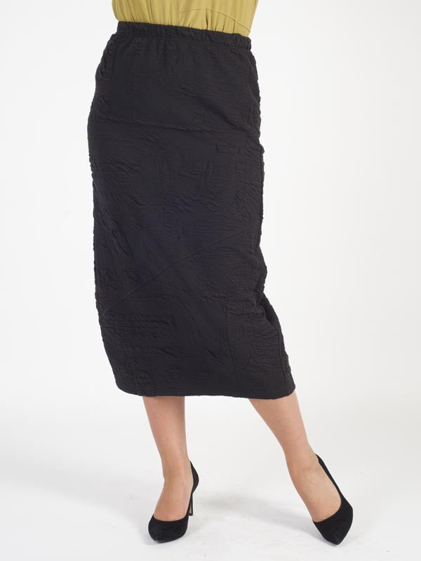 Vetono Black Textured Pull On Skirt