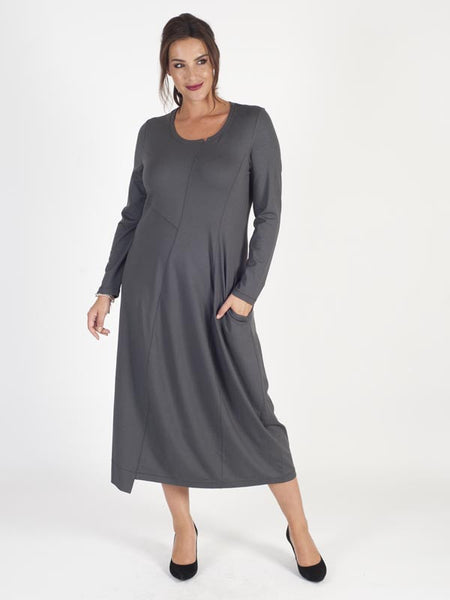 Vetono Charcoal Plain Round Neck Jersey Dress