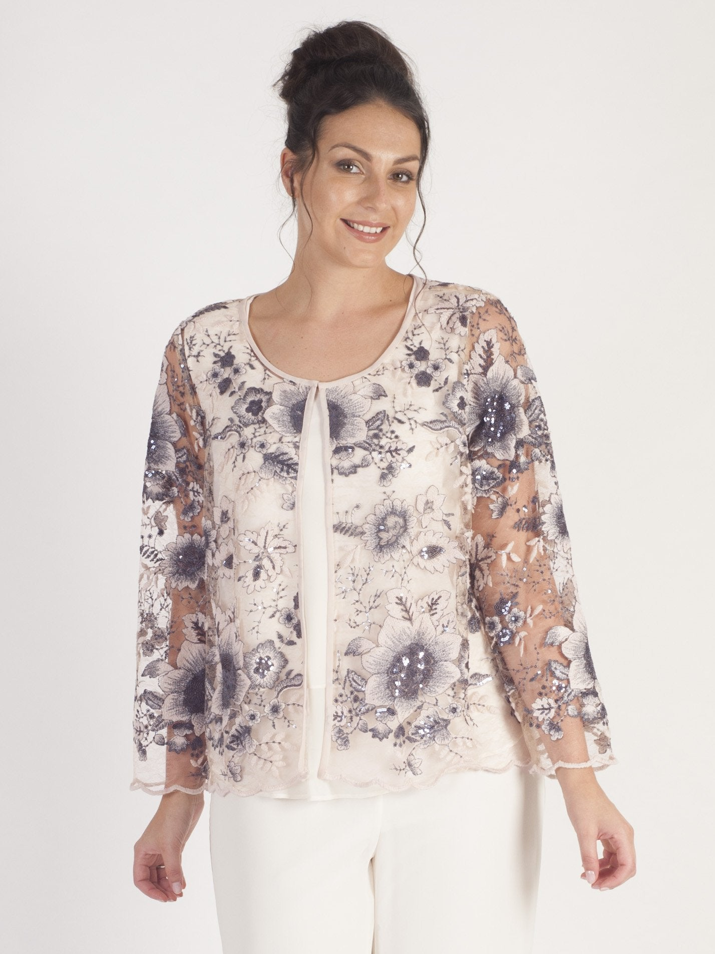 Blush Contrast Sequin And Embroidered Scallop Mesh Jacket