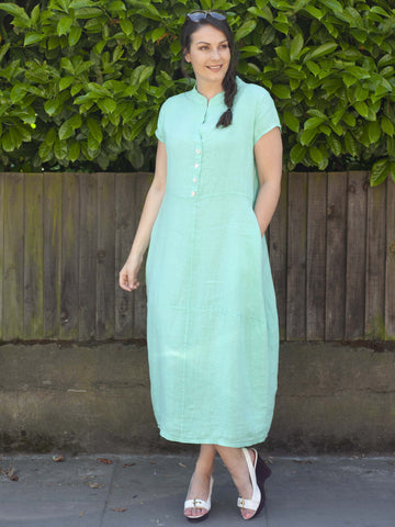 Jade Stand Collar Linen Dress