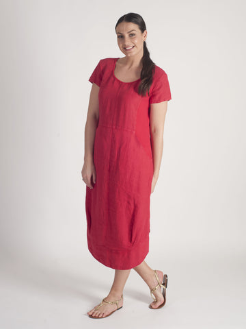 Vetono Red Linen Dress