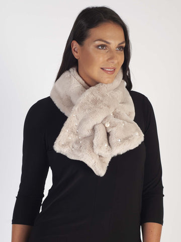 Cream Faux Fur Scarf