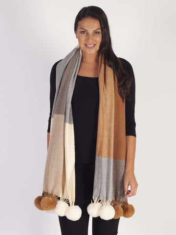 Camel/Grey/Green Cashmere Blend Faux Fur Wrap