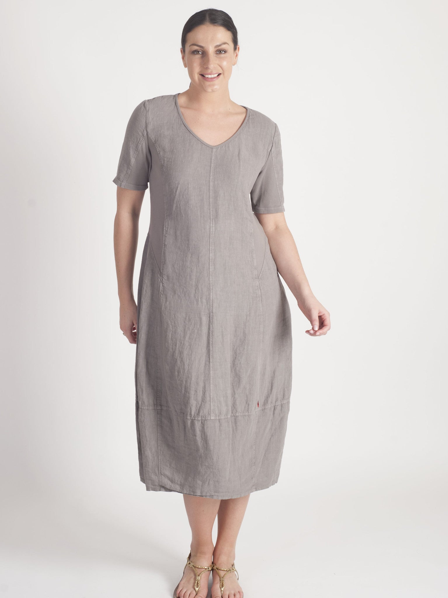 Vetono Mocha Linen Dress