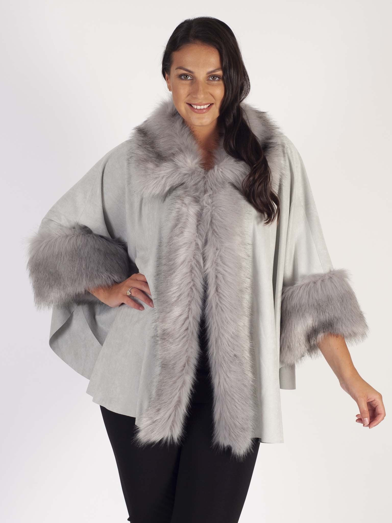 Silver Luxury Faux Fur Suede Cape