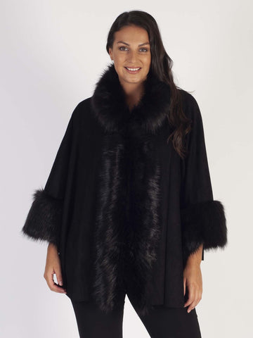 Black Luxury Faux Fur Suede Cape