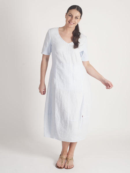 Vetono Light Blue Linen Dress