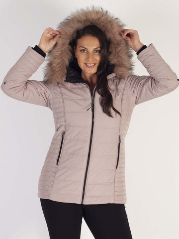 Nude Padded Coat With Faux Fur Trimmed Hood