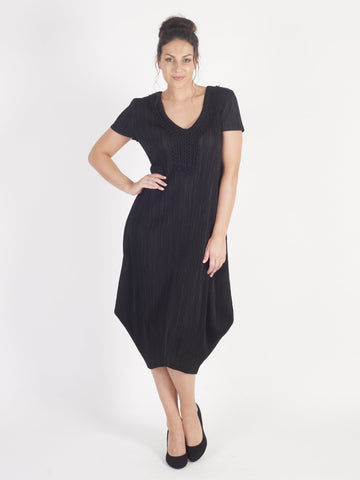 Black Lace Neck Trim Crush Pleat Drape Dress - Pre-order 28th June