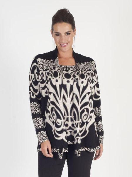 Blk/Beige Abstract Print Jumper