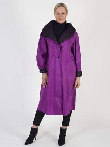Raspberry mid-calf length reversible Raincoat